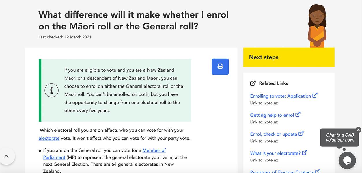 maori enrolment for general election webpage on citizens advice bureau website