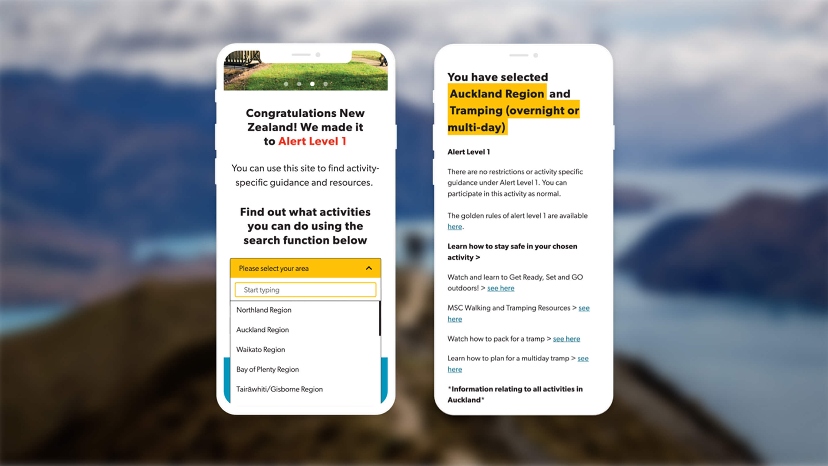 covid outdoors homepage mobile screens