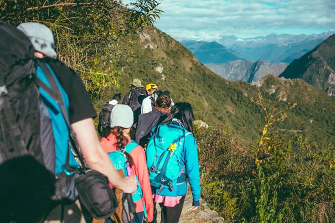 hiking group mountains
