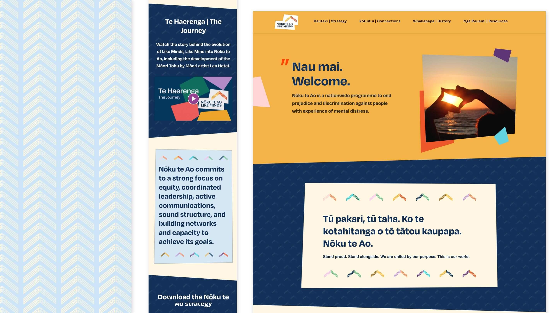noku te ao style desktop and mobile designs