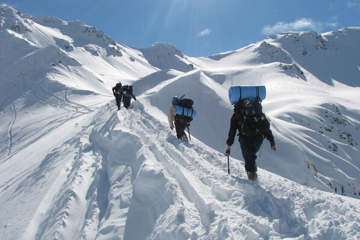 snow tramping stock image